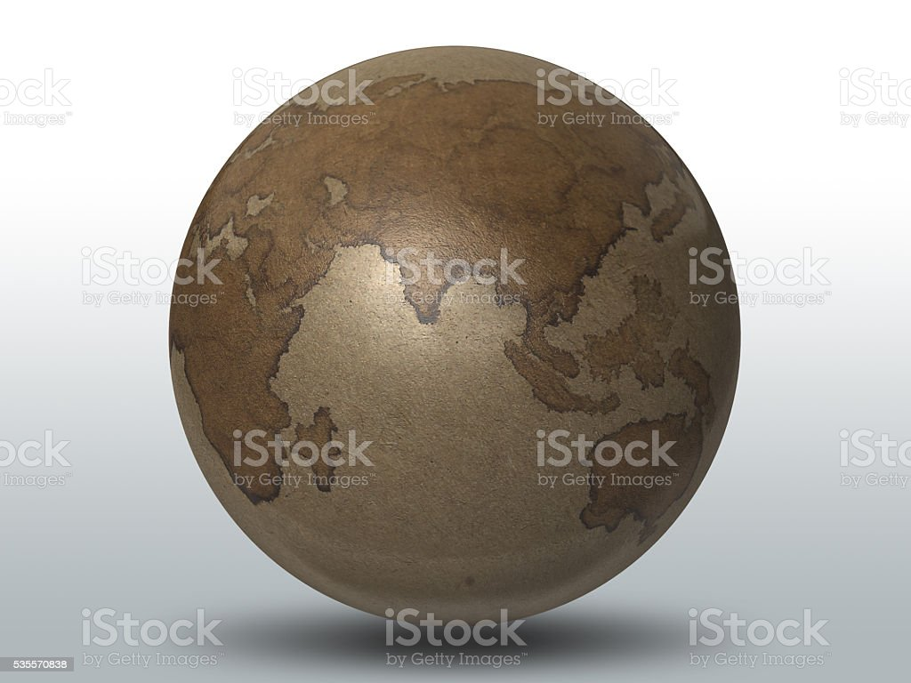 3D render, Earth mapping by Coffee painting royalty-free stock photo