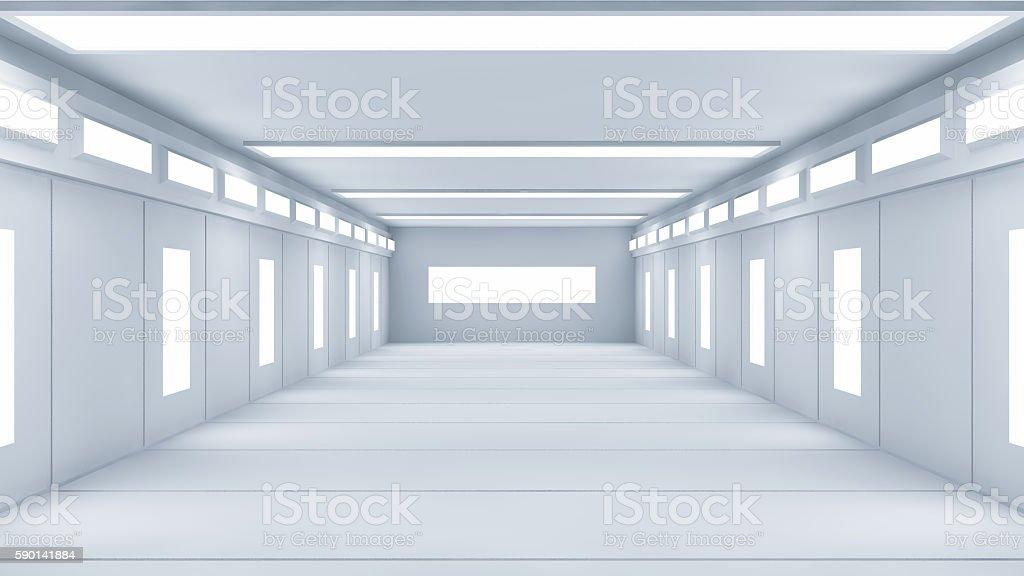 3D render. Futuristic interior room. stock photo
