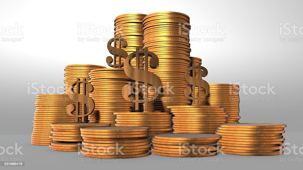 3D render, gold coin stack, Dollar sign isolated on white royalty-free stock photo