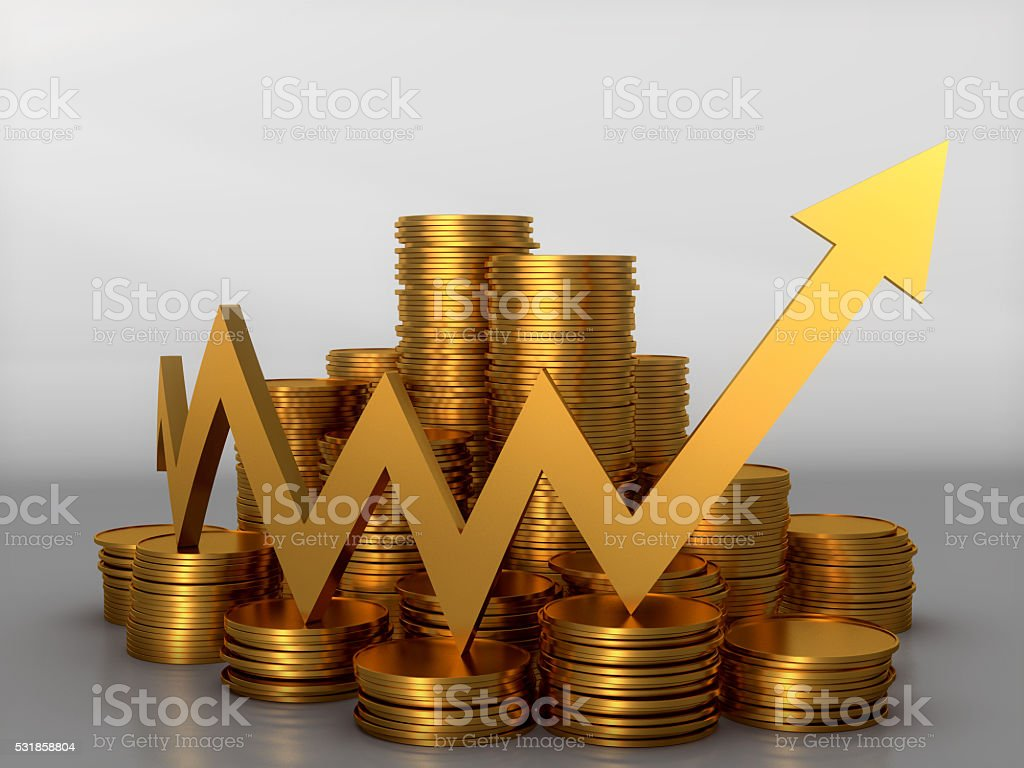 3D render, Gold coin stack with Gold arrow going up royalty-free stock photo