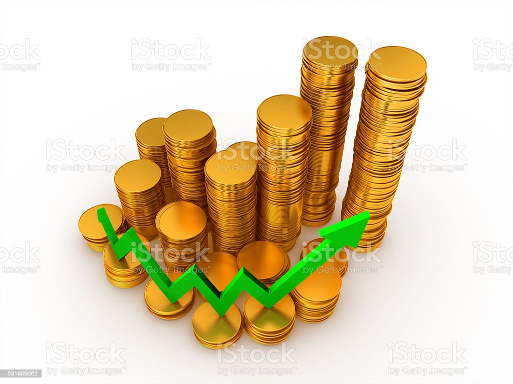 3D render, Gold coin stack with Green arrow going up royalty-free stock photo