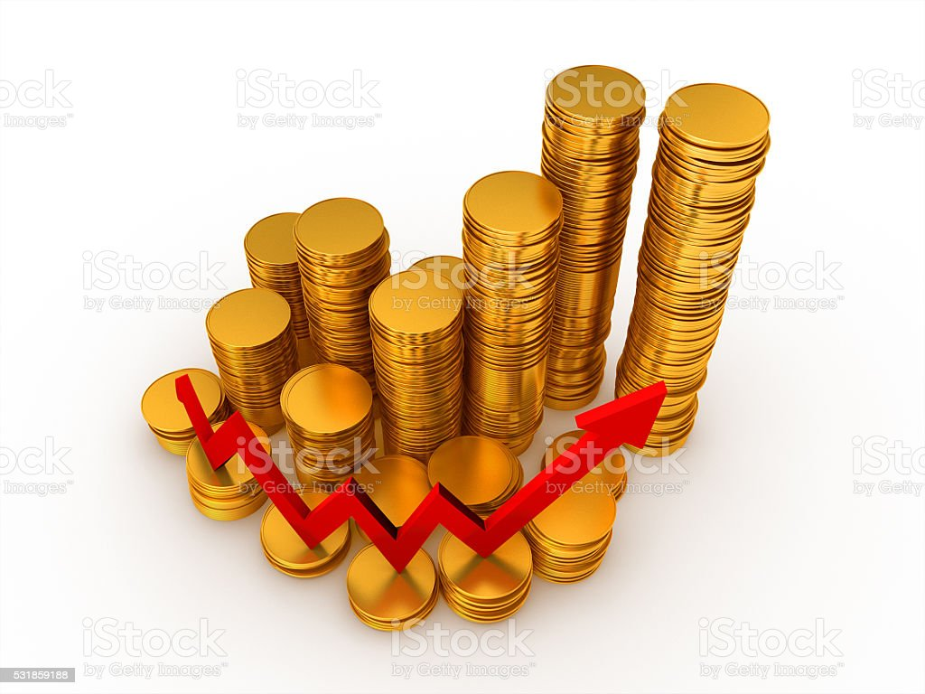3D render, Gold coin stack with red arrow going up royalty-free stock photo