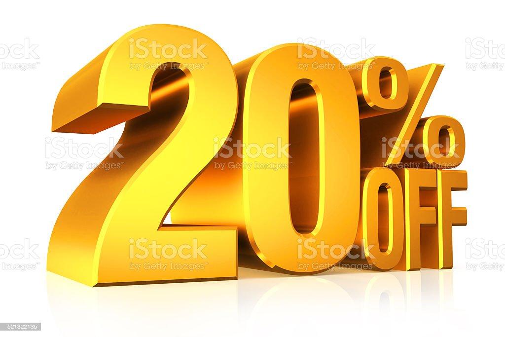 3D render gold text 20 percent off. stock photo
