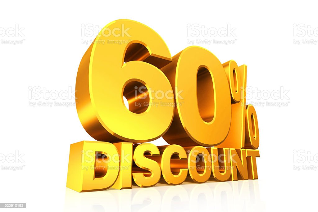 3D render gold text 60 percent discount. stock photo