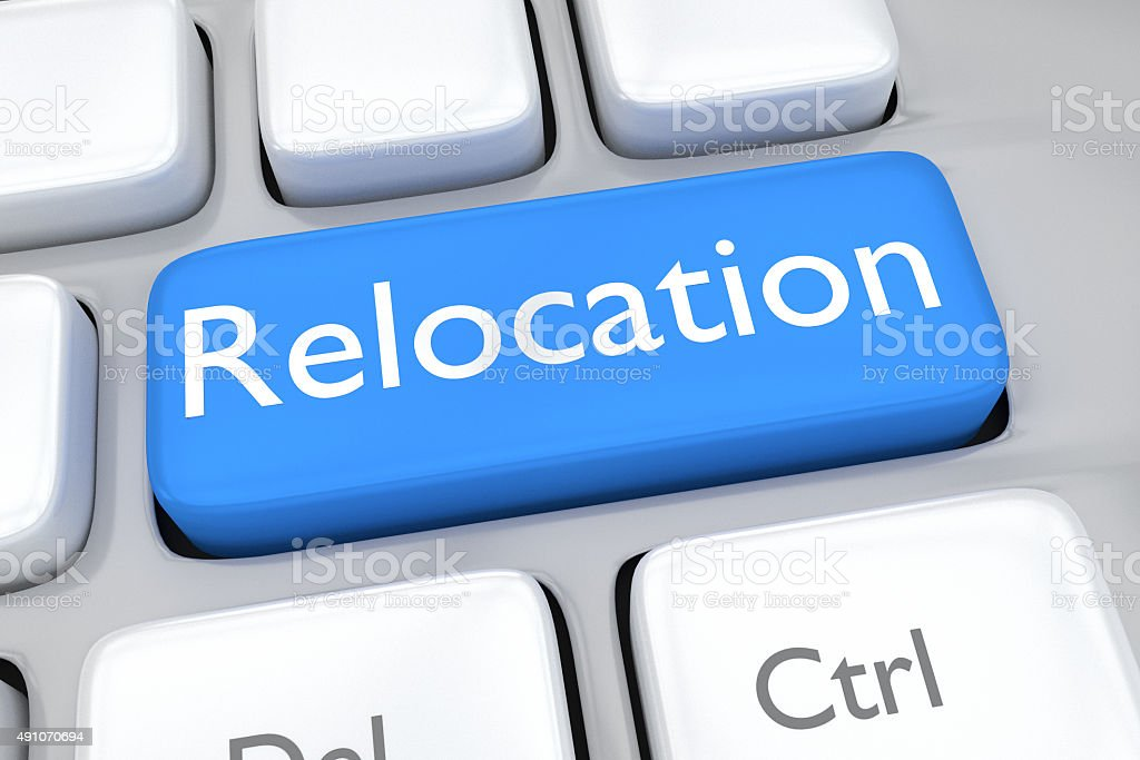 Render illustration of keyboard button with the word relocation stock photo