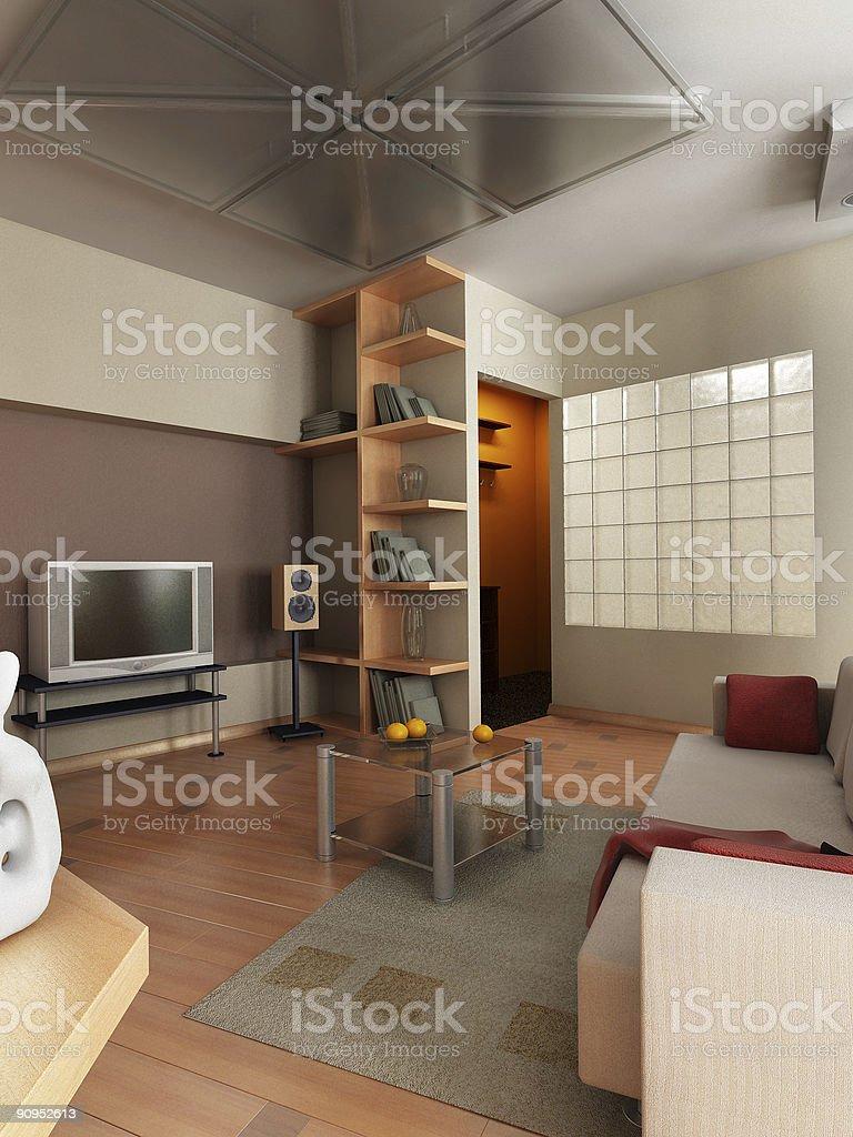 3D render interior royalty-free stock photo