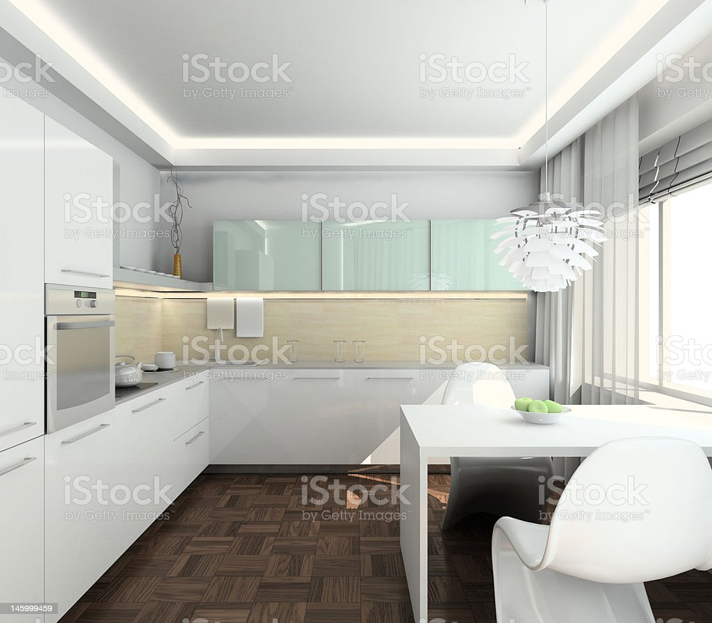 3D render modern interior of kitchen royalty-free stock photo