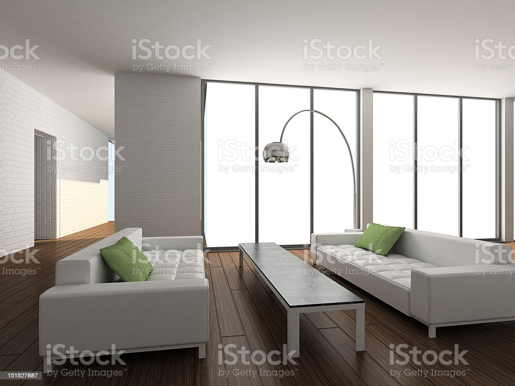3D render modern interior of living-room royalty-free stock photo