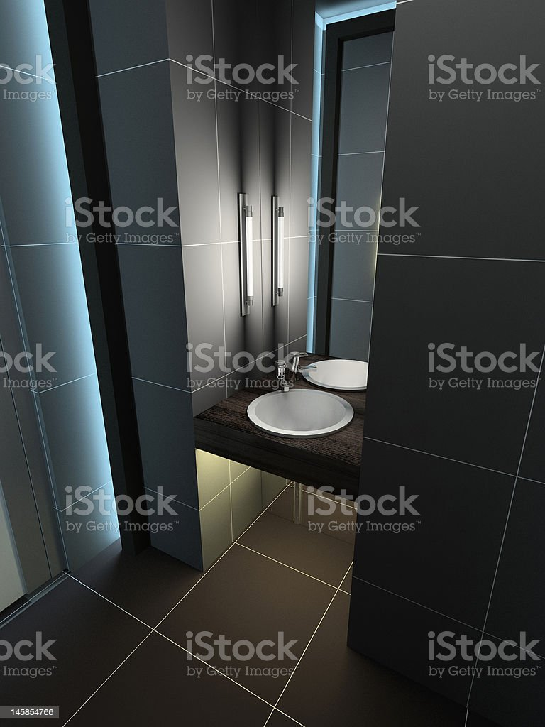 3D render modern interior of toilet royalty-free stock photo