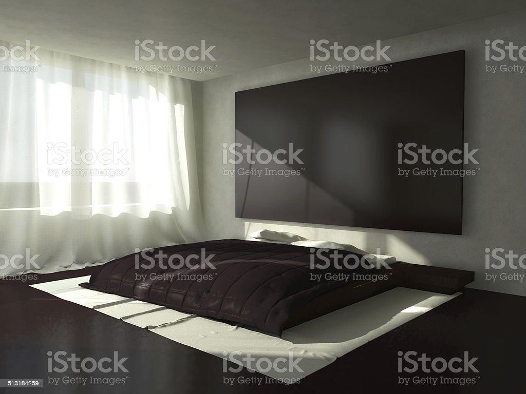 3D render of a bedroom stock photo