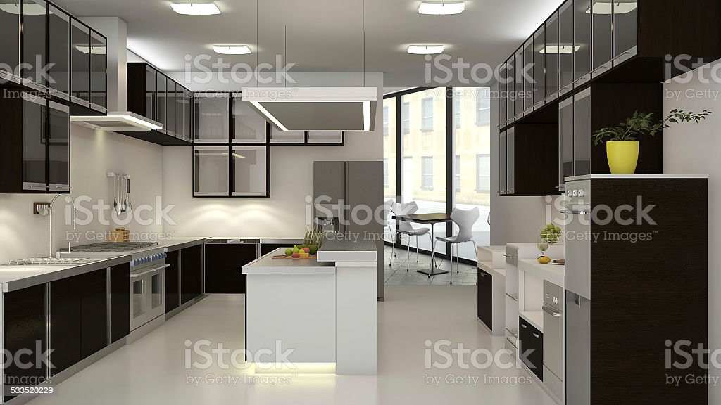 3D Render of a Commercial Restaurant Kitchen vector art illustration