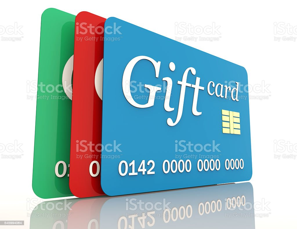 render of a gift card, isolated on white stock photo