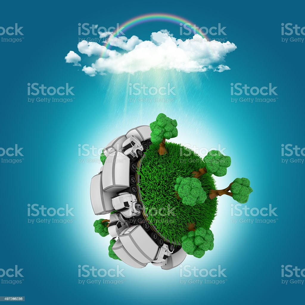 3D render of a grassy globe with trucks stock photo