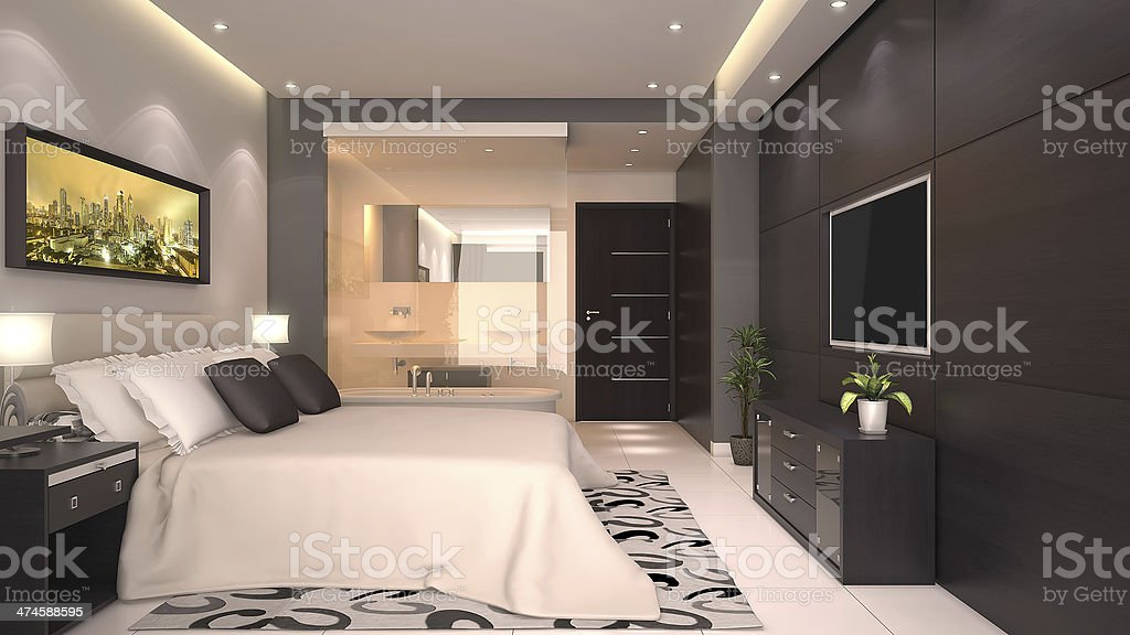 3D Render of a Hotel Room Interior with a Bed stock photo