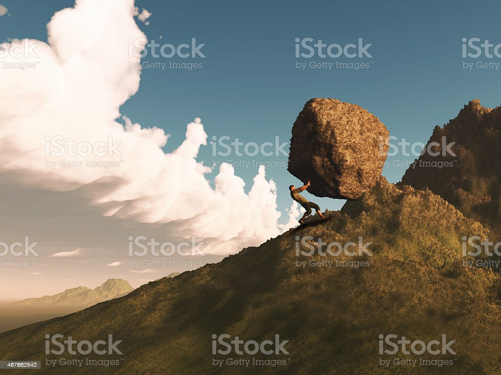 3D render of a man pushing a rock up mountain stock photo
