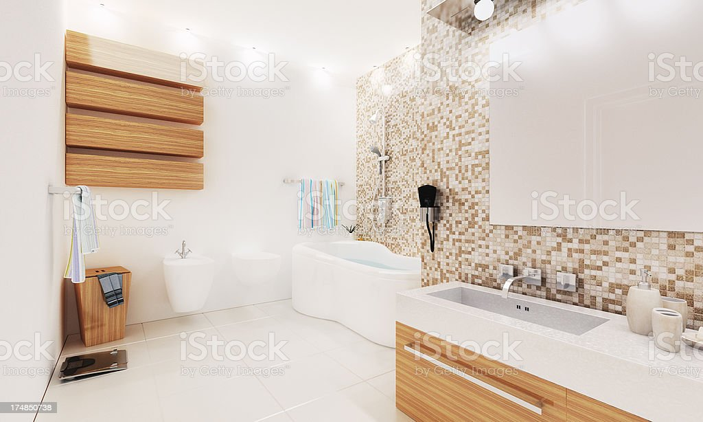 3D Render of a Modern Bathroom. Planning. Architecture Abstract. royalty-free stock photo