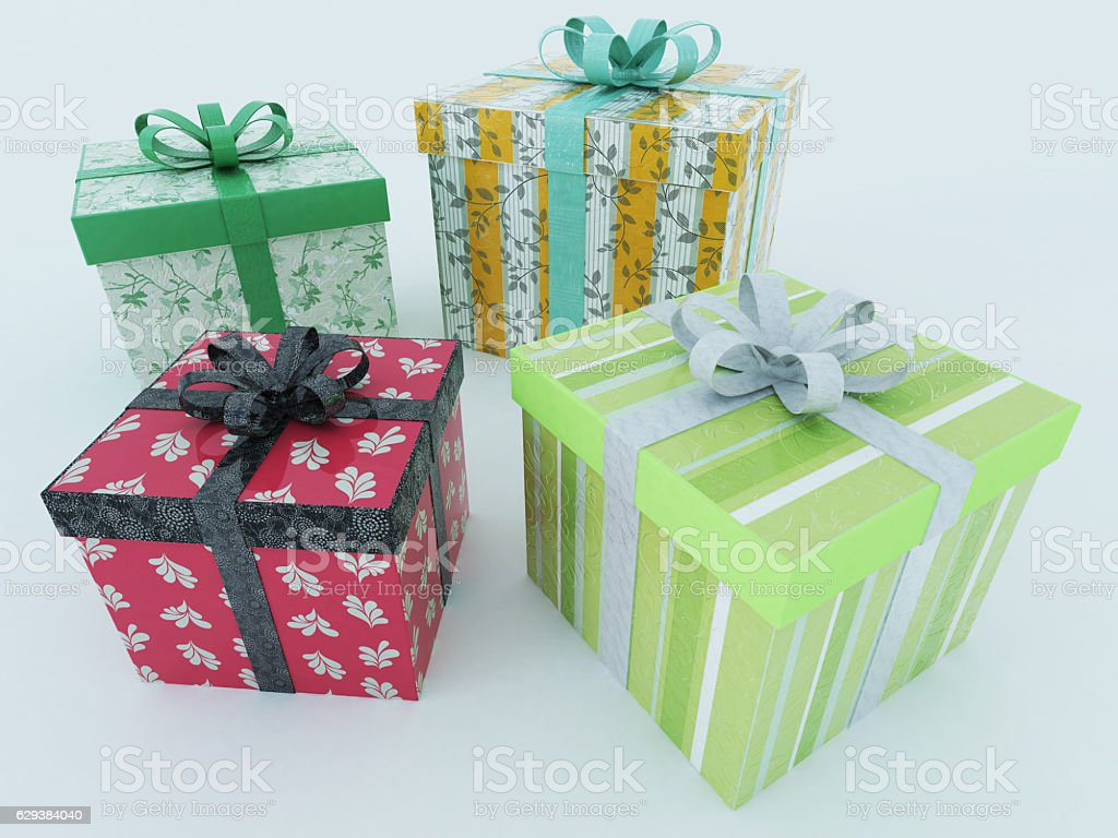 3D render of a multicolor wrapped holiday presents with ribbons stock photo