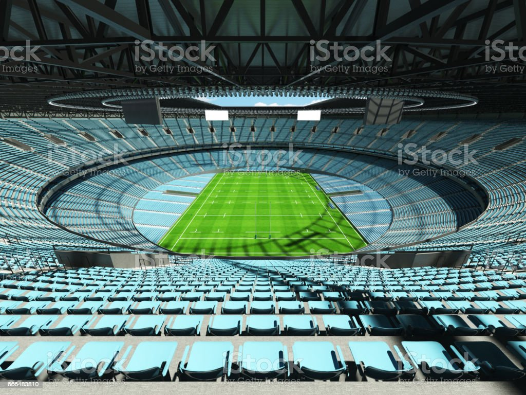 3D render of a round rugby stadium with sky blue seats and VIP boxes...