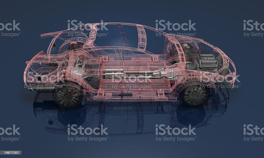 3D render of a wireframe car on a blue background stock photo