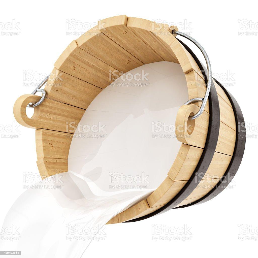 render of a wooden milk bucket stock photo