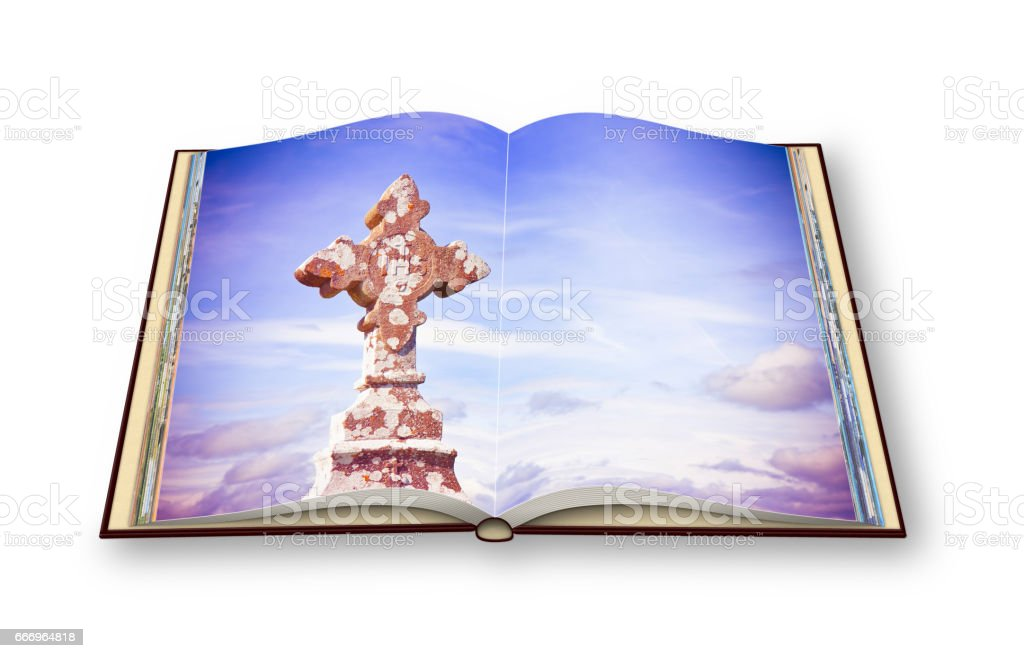 3D render of an opened photobook isolated on white background with celtic carved stone cross stock photo
