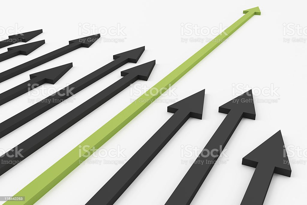 3D render of arrows pointing in one direction stock photo