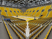 3D render of beautiful basketball arena with yellow seats