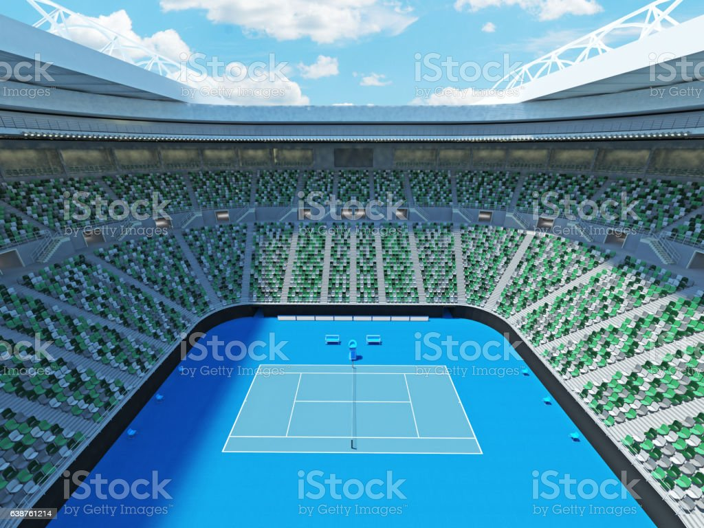 3D render of beutiful modern tennis grand slam lookalike stadium stock photo