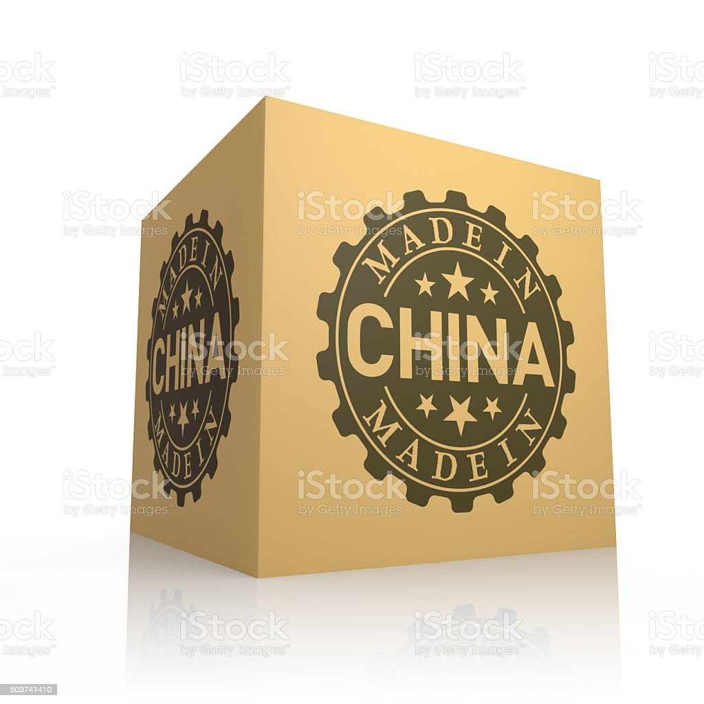 3D Render of Cardboard Box with Made in China vector art illustration