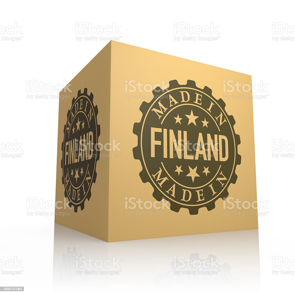3D Render of Cardboard Box with Made in Finland stock photo