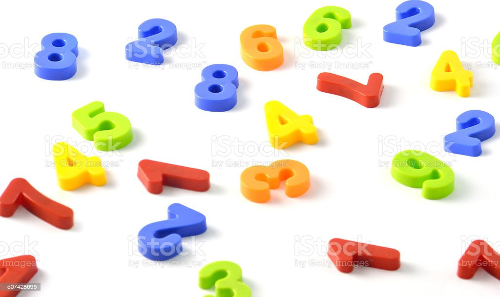 3D Render of colorful number pieces on a white background stock photo