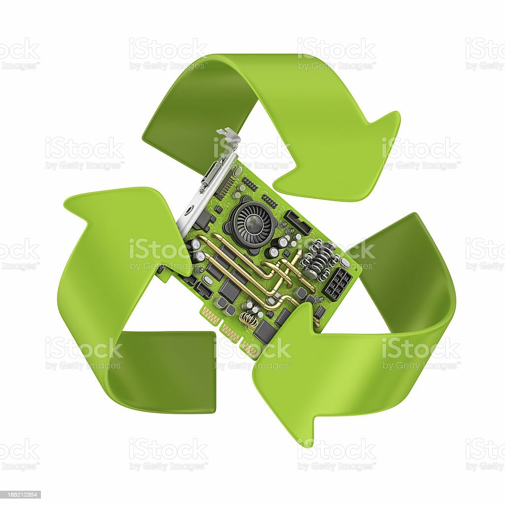 3-D render of computer part and recycling symbol stock photo