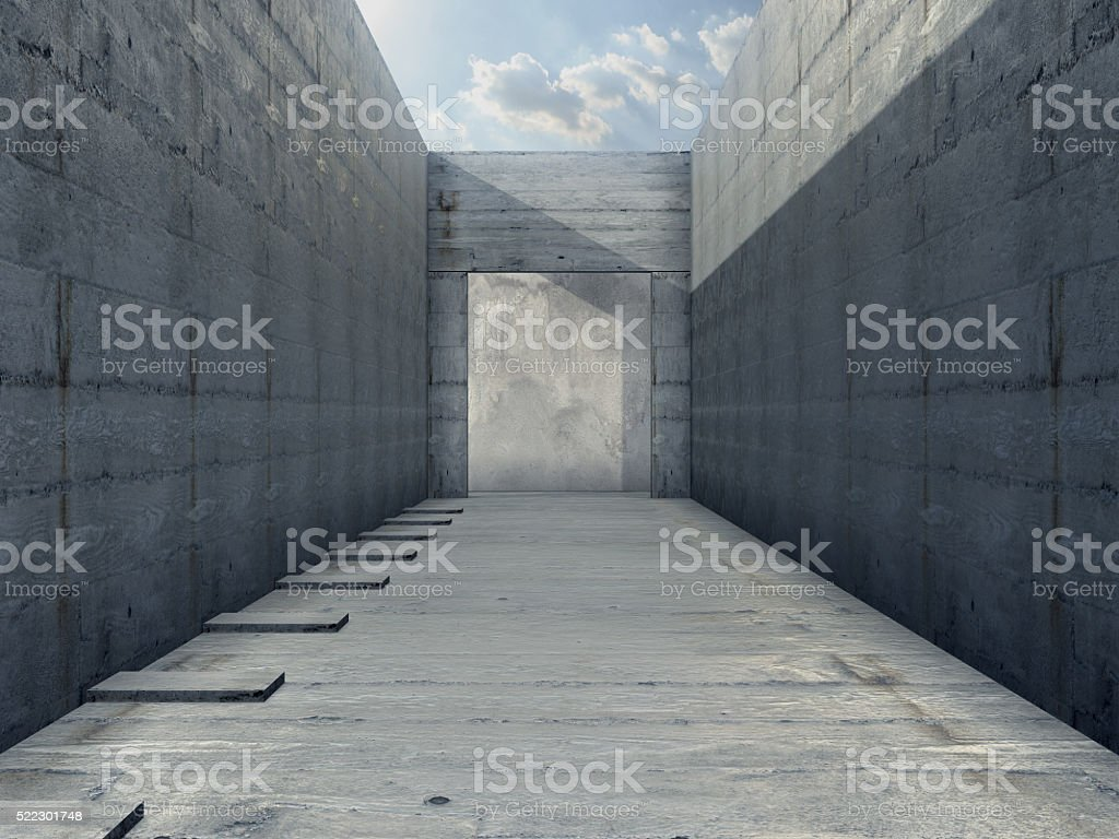 Render of Concrete room no ceiling with blue sky royalty-free stock photo