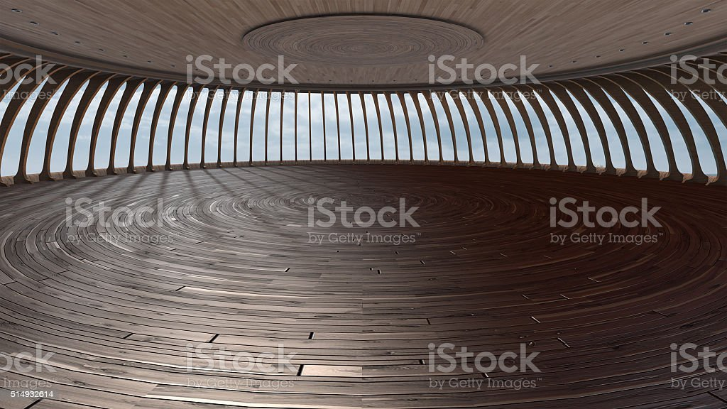 3D Render Of Empty Round hall with wood texture royalty-free stock photo