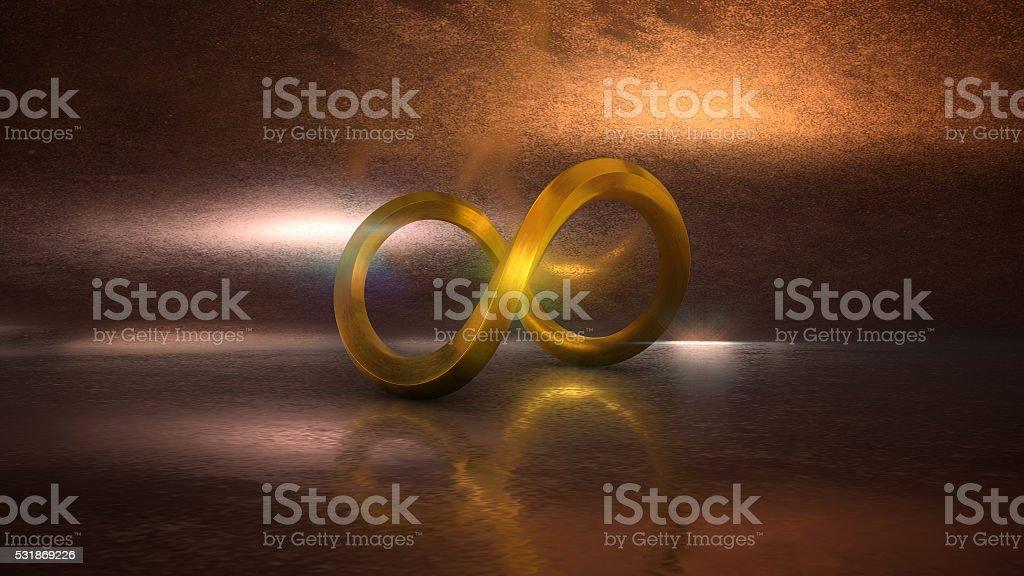 3D Render of Golden Infinity Symbol stock photo