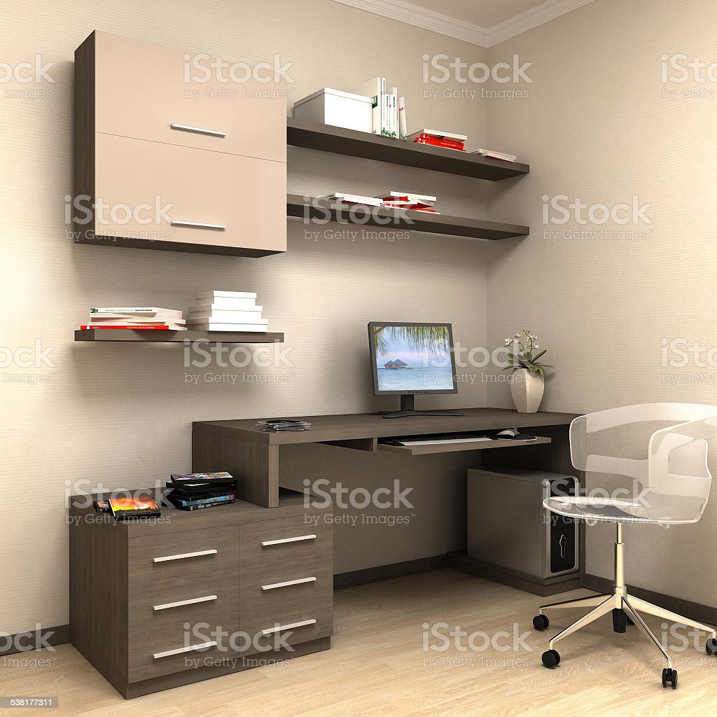 render of home work station stock photo