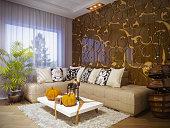 Render of interior design living room