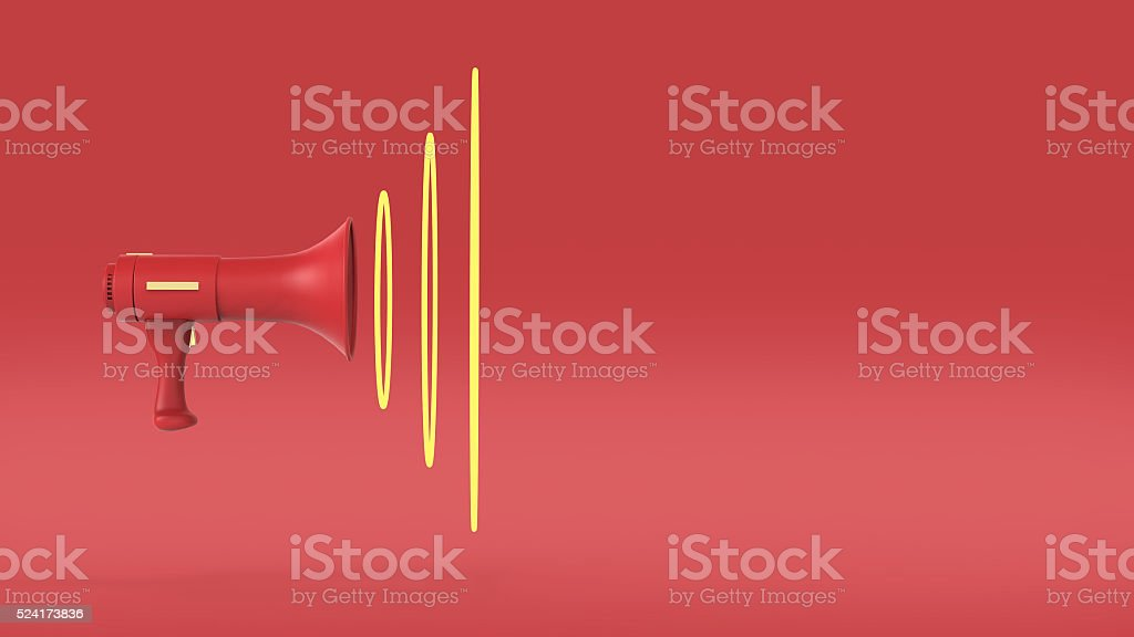 render of megaphone painted in signal red with sounwaves infront stock photo