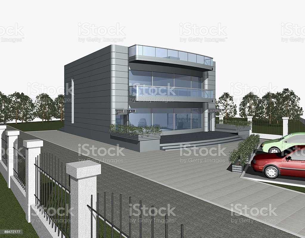 3D render of modern house building royalty-free stock photo