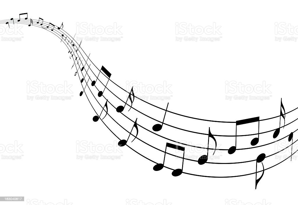 Render of music notes fading in stock photo
