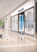 Render of sliding folding screens in the mall