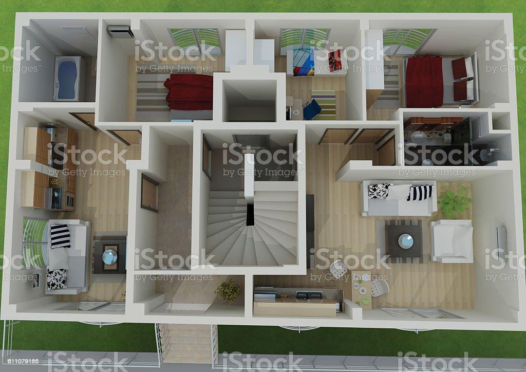 3D render of the building floor plan stock photo