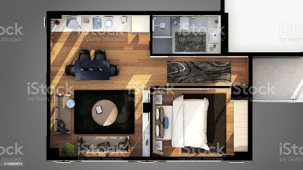 3D Render of the house plan stock photo