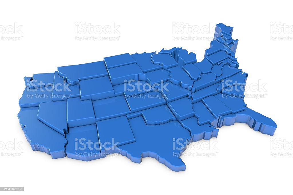 3D render of USA map with states stock photo