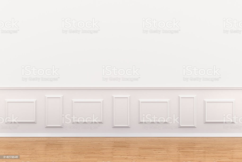 render of white interior with panels stock photo