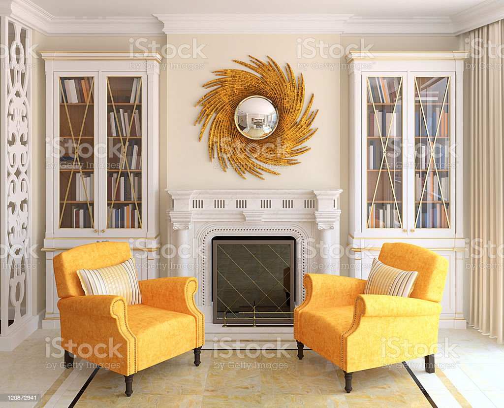 3D render of yellow chairs in modern living room stock photo