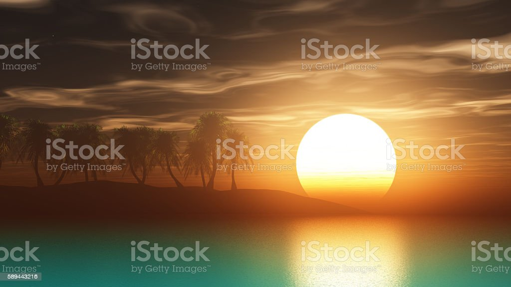 3D render palm trees at sunset stock photo