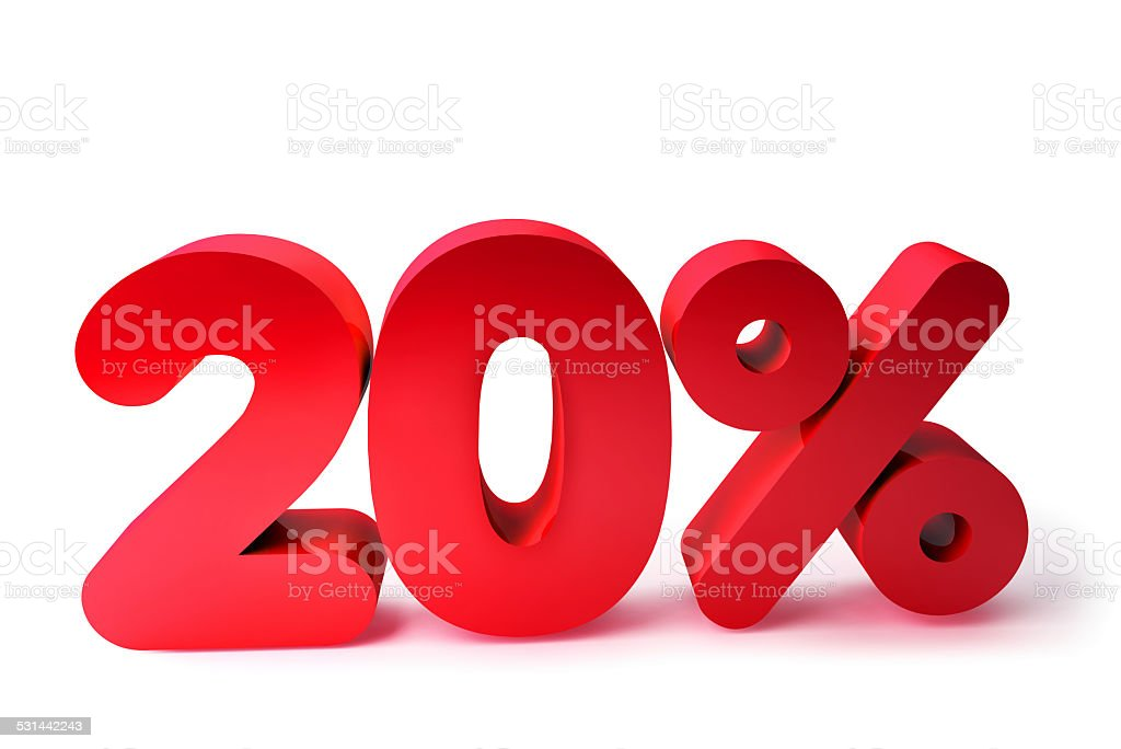 20% 3D Render Red Word Isolated in White Background stock photo