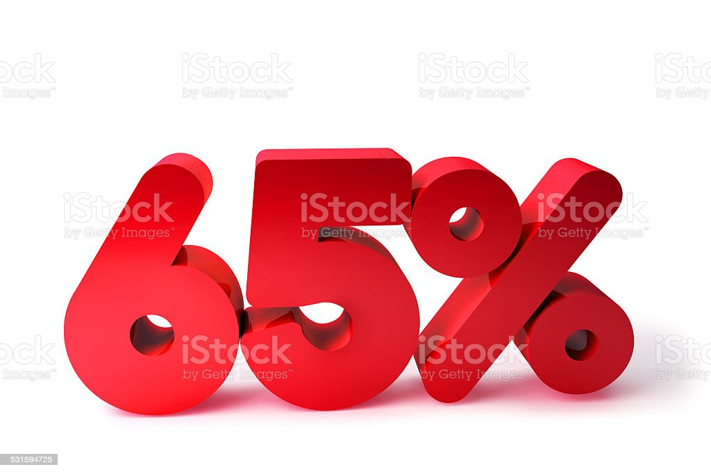 65% 3D Render Red Word Isolated in White Background stock photo
