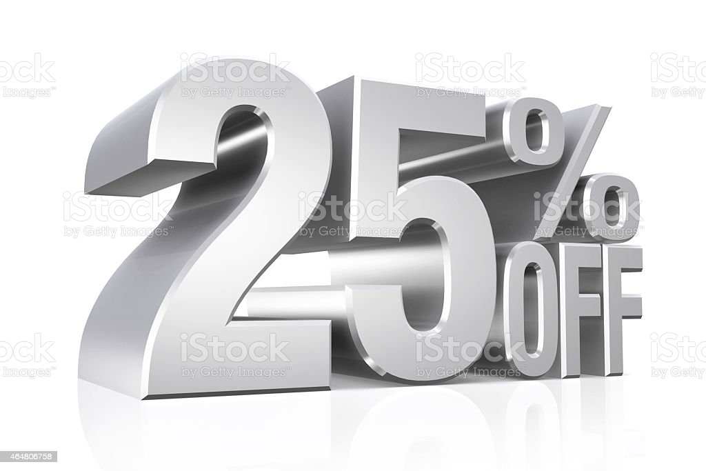 3D render silver text 25 percent off. stock photo